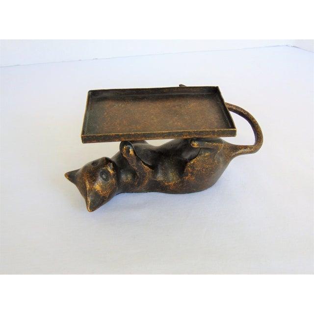 Image of Antiqued Brass Cat Business Card Holder