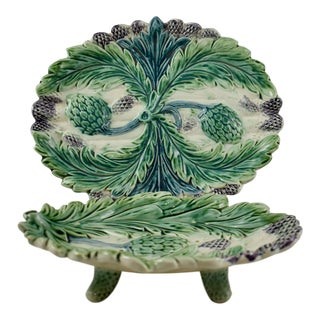Luneville French Faïence Majolica Asparagus Footed Drainer & Under Tray