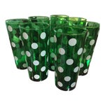 Image of 1950's Dark Green Polka Dot 20 oz. Tumblers - Set of 8