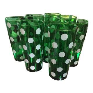 1950's Dark Green Polka Dot 20 oz. Tumblers - Set of 8