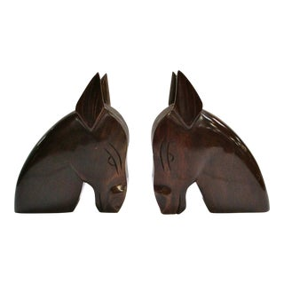 Mid Century Walnut Horse Head Bookends - a Pair
