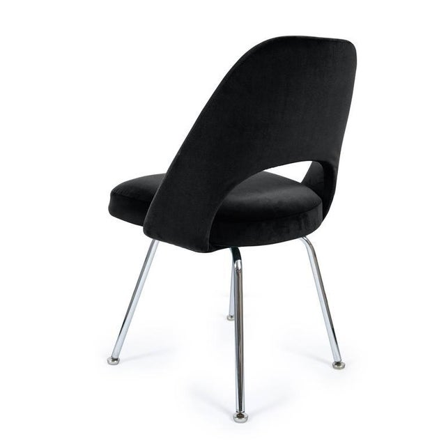 Saarinen Executive Armless Chairs in Black Velvet, Set of Six - Image 2 of 3