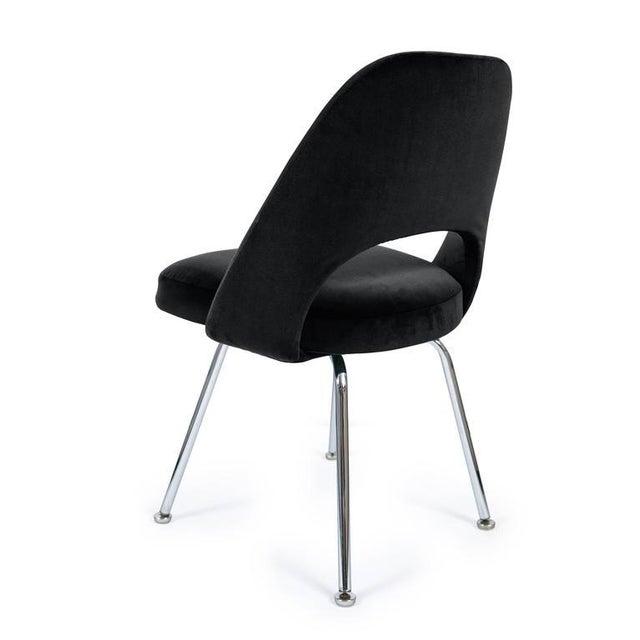 Image of Saarinen Executive Armless Chairs in Black Velvet, Set of Six