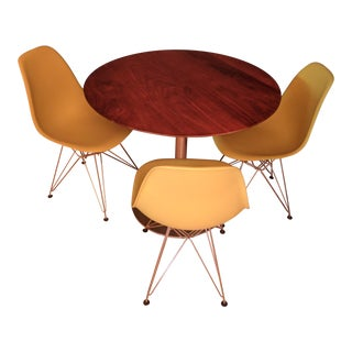 Round Walnut Table & Eames Chairs Set
