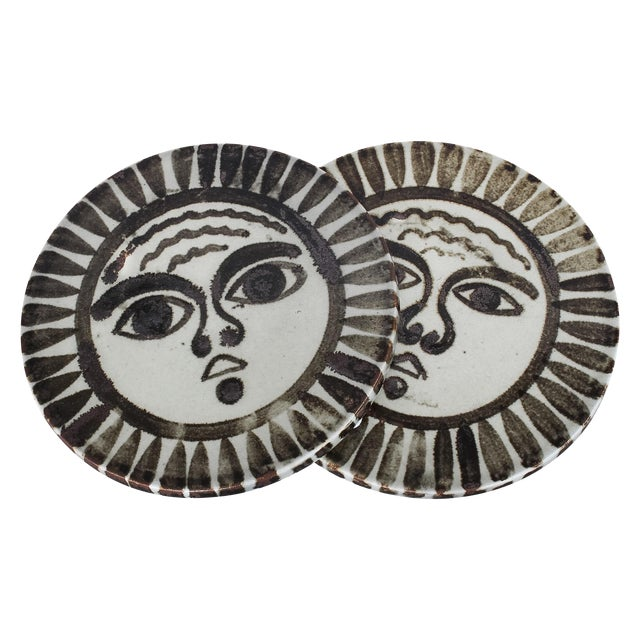 Mid-Century Sun Face Trivets by Ken Edward - Pair - Image 1 of 7