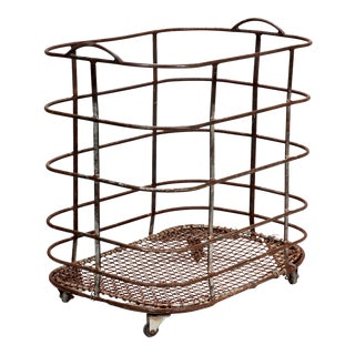 French Metal Storage Basket or Bread Trolley on Casters