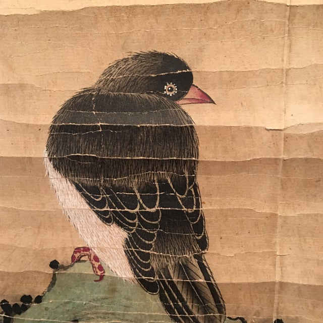 Chinese Bird & Flower Ink Painting on Paper Scroll - Image 6 of 10