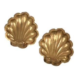 Solid Brass Footed Decorative Clamshell Dishes - A Pair