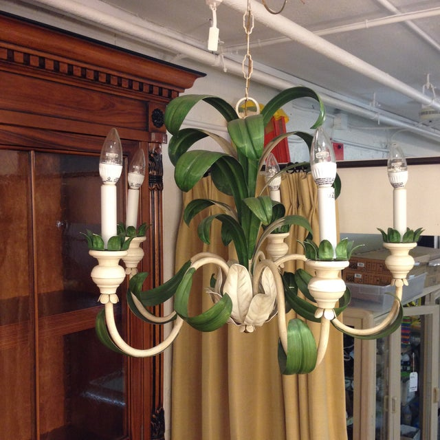 Hand Painted Green French Reproduction Chandelier - Image 3 of 9