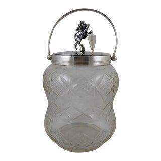 English Silver Plate Lion & Cut Glass Ice Bucket