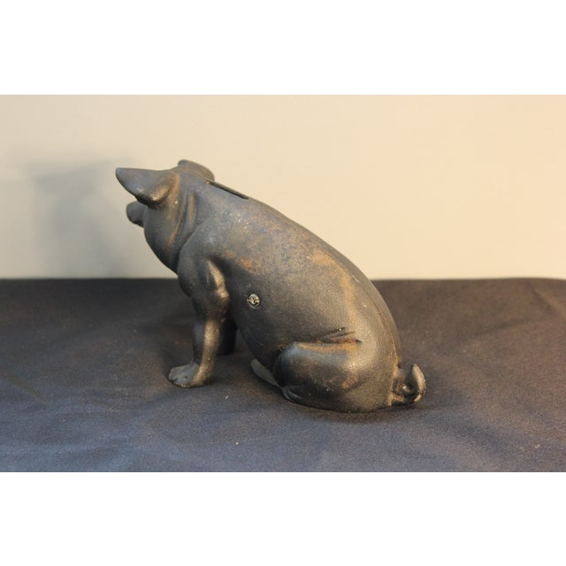 Vintage Cast Iron Pig Piggy Bank - Image 4 of 4