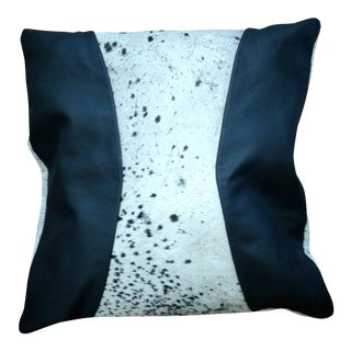 Black Leather & Cowhide Pillow