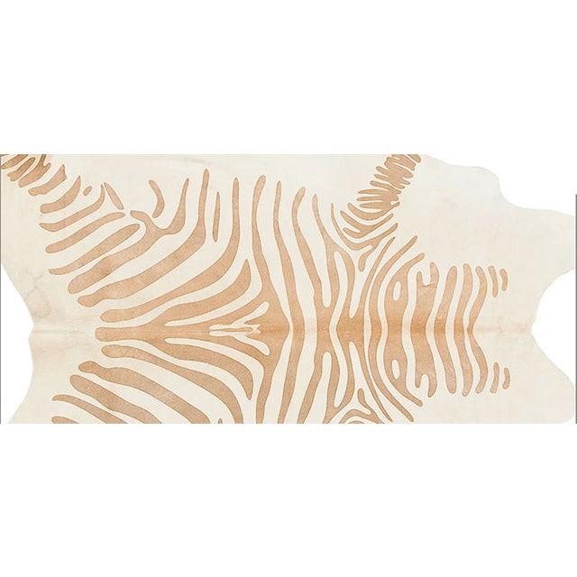 Honey Color Zebra Print Cow Hide Rug - 7' X 8' - Image 3 of 6
