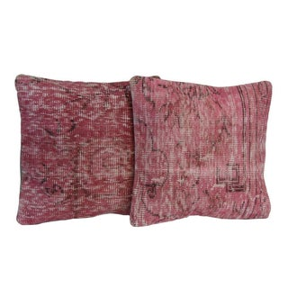 Pink Handmade Over-Dyed Rug Pillow Covers - A Pair