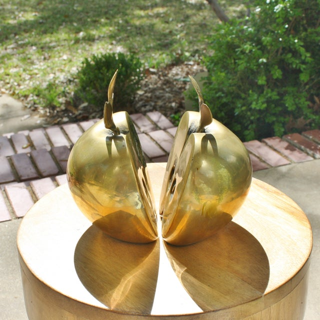 Mid-Century Brass Apple Bookends- A Pair - Image 6 of 6