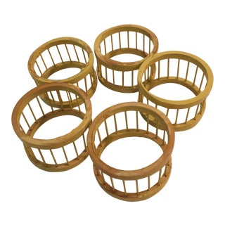 Mid-Century Modern Wood Napkin Rings - Set of 5