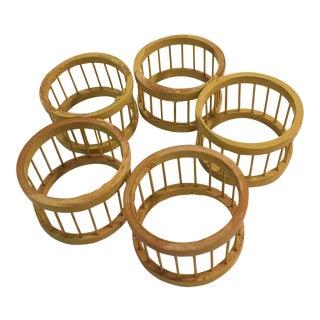 Mid-Century Modern Wood Napkin Rings - Set of 5