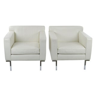 DWR Theatre Armchairs in Cream Leather - A Pair