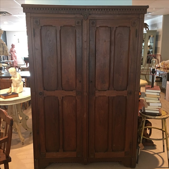 Antique 1800s Walnut Wardrobe Armoire - Image 2 of 7