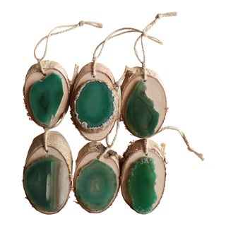 Agate and Birch Slice Christmas Ornaments - Set of 6
