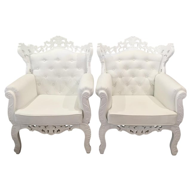 White Rococo Wingback Chairs - A Pair - Image 1 of 11