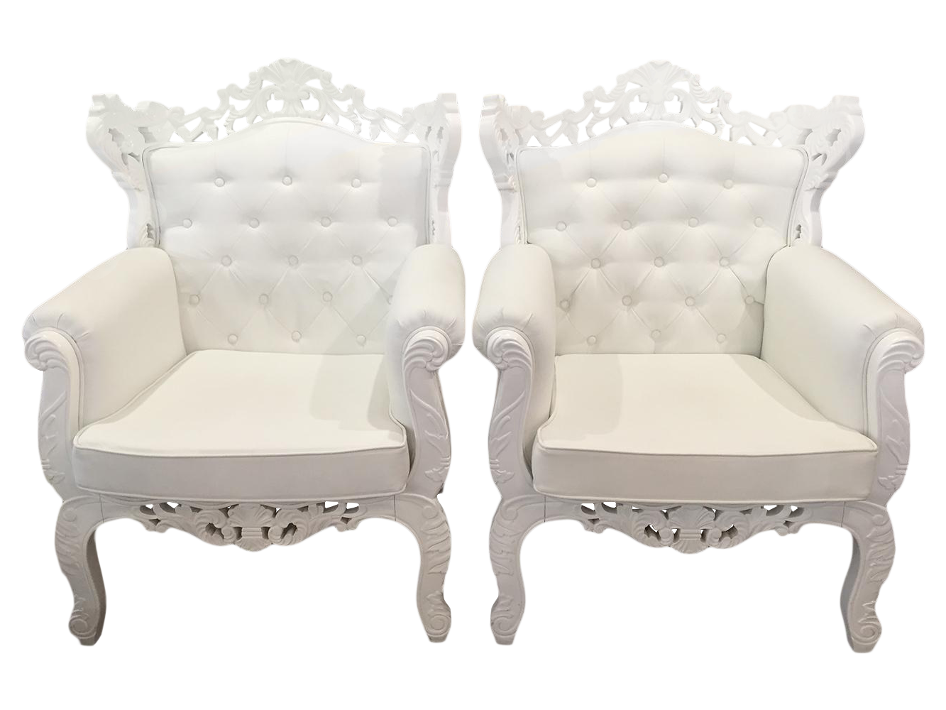 White Rococo Wingback Chairs   A Pair