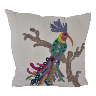 Embroidered Parrot Accent Pillow
