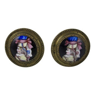 18th Century English Battersea Enamel Curtain Tiebacks- A Pair