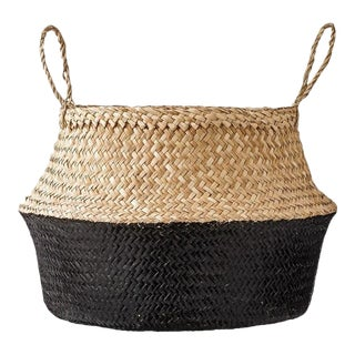Black Dipped Sea Grass Belly Basket