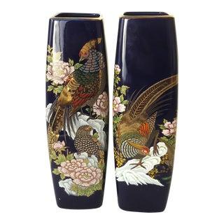 Pheasant & Peony Japanese Vases - A Pair
