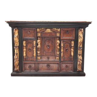 Bambocci Cabinet of Walnut and Ebony with Giltwood Figures