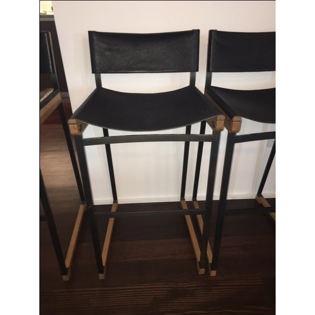 Token Black Leather Bar Stools - Set of 5 - Image 5 of 10