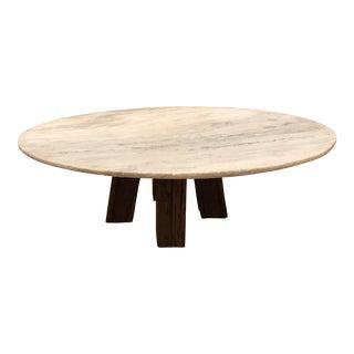 Rustic Legs Rough Cut Marble Table