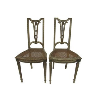 Antique French Neoclassical Caned & Carved Arrow Back Chairs - a Pair