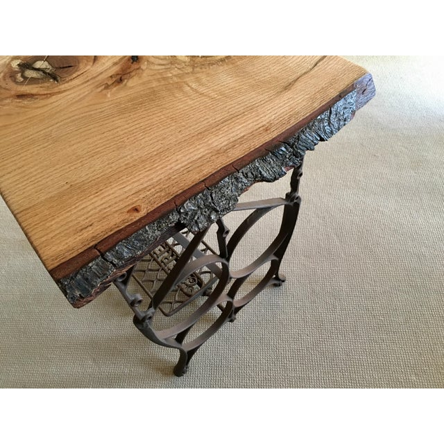 Live Edge Console with Sewing Machine Base - Image 8 of 10