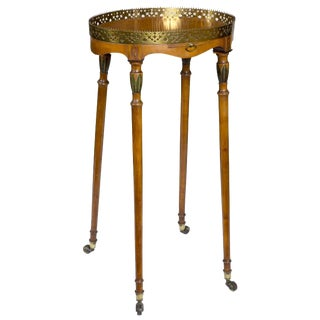 Satinwood & Brass Edwardian Urn Stand on Wheels