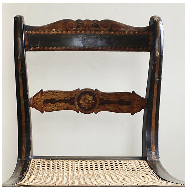 Image of Antique Hand Painted Caned Chair