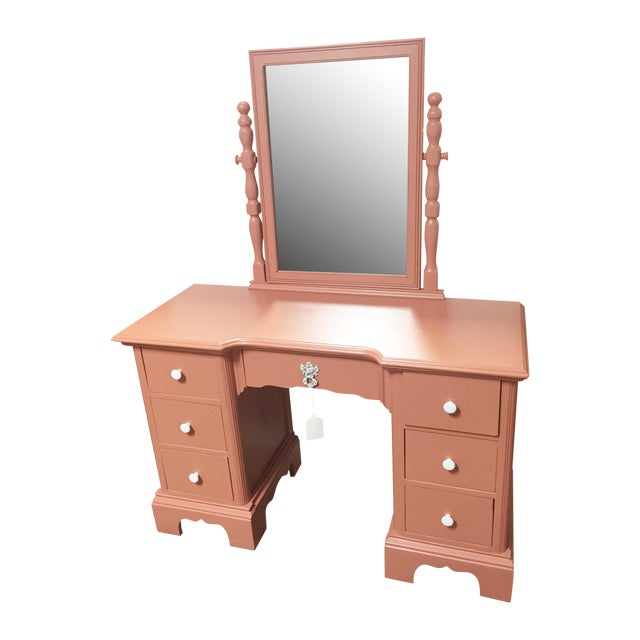 Antique Pink Painted Shabby Chic Vanity & Mirror - Image 1 of 11