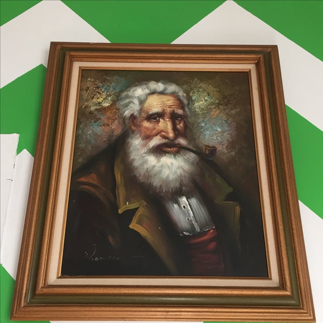 Image of Large Captain Painting Signed Original Art