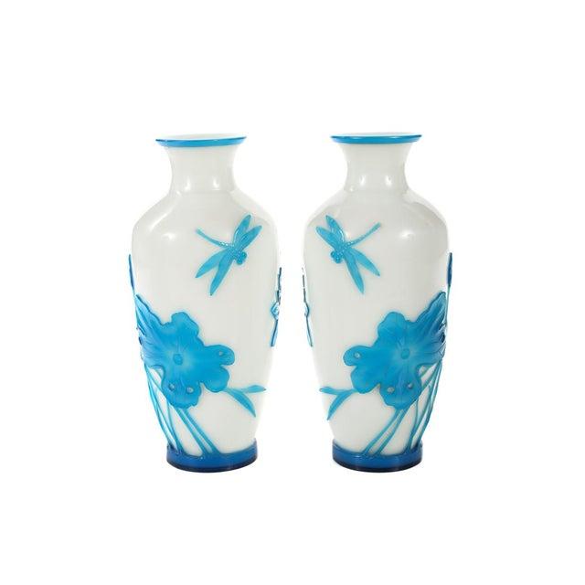 Chinese Peking Glass Blue & White Vases - Pair - Image 2 of 9