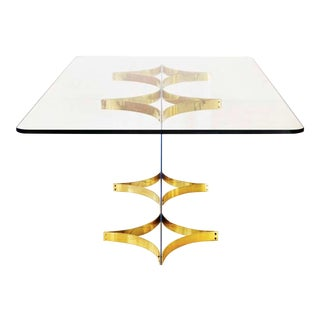 Brass & Lucite Dining Table by Alessandro Albrizzi