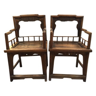 Asian Oak Wood Chairs - A Pair