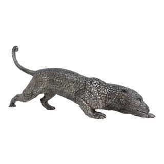 Vintage Solid Silvered Bronze Panther Figure