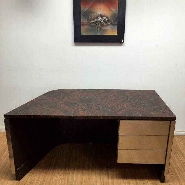 Image of Mirrored Chrome and Burlwood Executive Desk