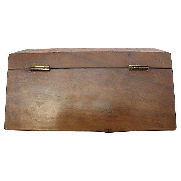 Image of Antique English Wood & Brass Jewelry Box & Key