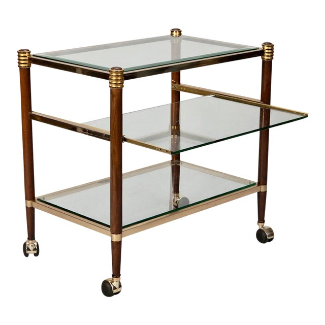 Mid-Century Italian Brass Glass and Polished Wood Trolley Table or Bar Cart - Image 1 of 8