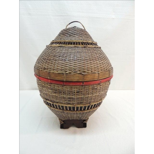 Vintage Asian Lidded Woven Basket - Image 2 of 4