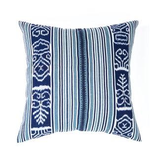Indigo And Teal Guatemalan Ikat Pillow