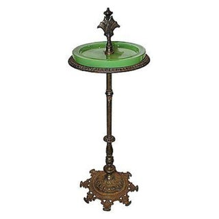 1920s Smoking Stand with Green Glass