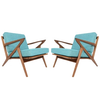 """Model Z"" Walnut Lounge Chairs - A Pair"